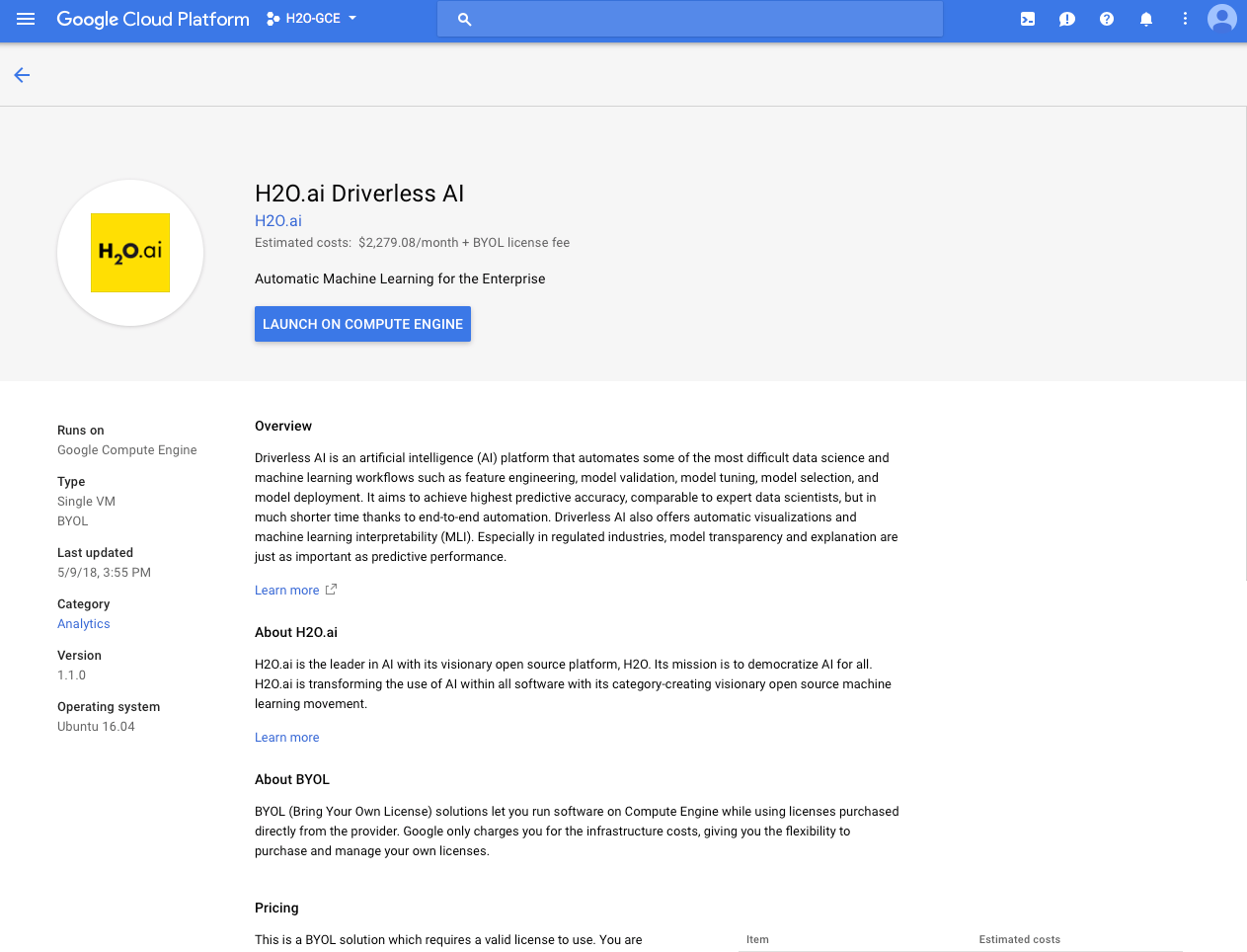 Install the Google Cloud Platform Offering — Using